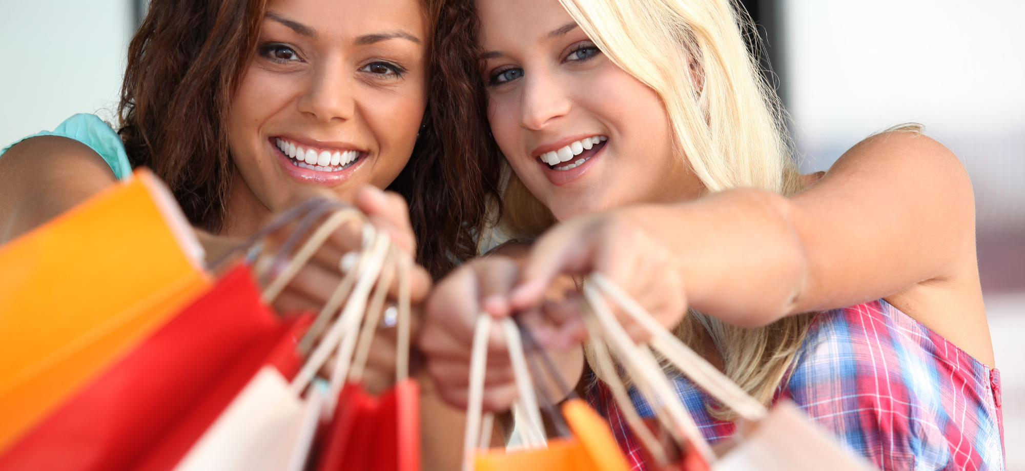 two girls on a shopping spree